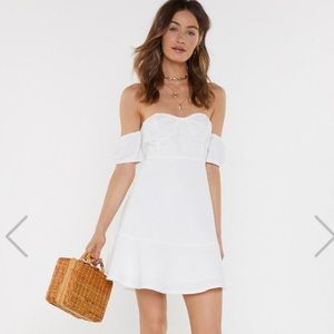 A Place In The Sun Off-The-Shoulder Mini Dress